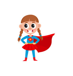 flat girl kid in fancy super woman costume vector image