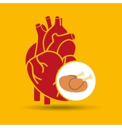 Food healthy heart chicken concept design icon vector