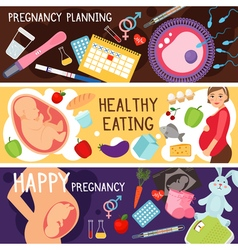 Happy pregnancy banners pregnant woman lifestyle vector