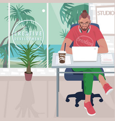 hipster working in office with tropical landscape vector image vector image