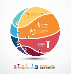 infographic Template with basketball jigsaw banner vector image vector image
