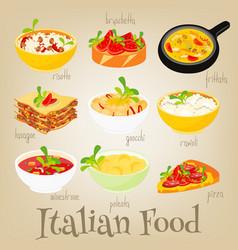 Italian food set vector