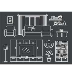 Living room line on Black vector image vector image