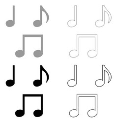 music note set icon grey and black color vector image vector image