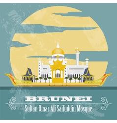 Nation of brunei landmarks retro styled image vector