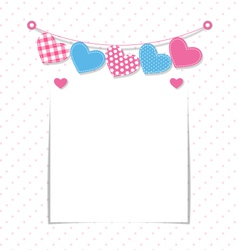 Paper frame with stitched hearts buntings garlands vector image vector image