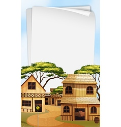 Paper template with western town background vector image