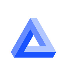 Penrose triangle icon in blue geometric 3d object vector