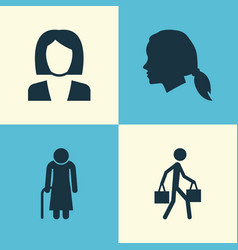People icons set collection of old woman vector