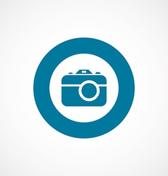 Photo camera bold blue border circle icon vector
