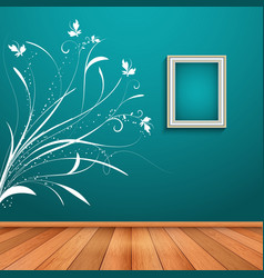 Room interior with decorative wall decal vector