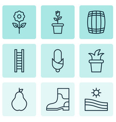 Set of 9 holticulture icons includes bush pot vector