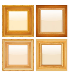 set of golden vintage frames vector image