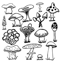 Set of silhouettes cute cartoon mushrooms isolated vector