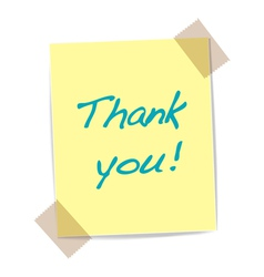 thank you yellow sticker vector image
