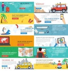 Twelve travel banners vector image