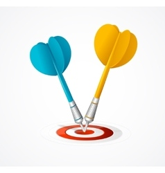 Two Darts hit the target vector image vector image