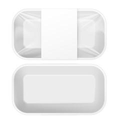white styrofoam food tray pack vector image