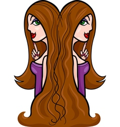 women cartoon gemini sign vector image vector image