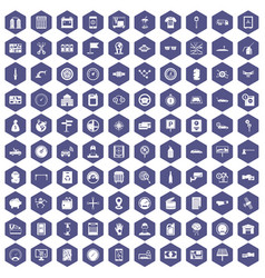 100 auto repair icons hexagon purple vector