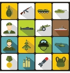 War icons set in flat style vector