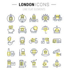 London line icons 7 vector