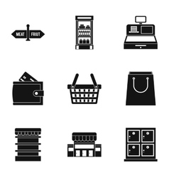 Purchase in shop icons set simple style vector