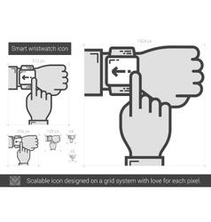 Smart wristwatch line icon vector