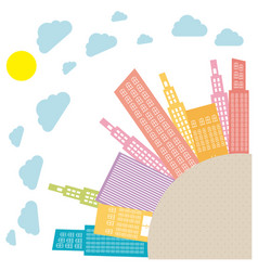 Colors round city with builds and clouds vector