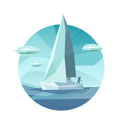 Low polygon sailing ship icon vector