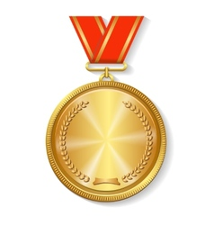 Gold medal on red ribbon vector