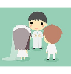 Marriage of couple with priestcute vector