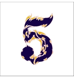 Fiery font blue number 5 on a white background vector