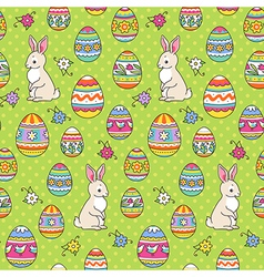 Easter pattern green bunny vector