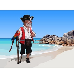 Cartoon one legged man pirate with a parrot vector