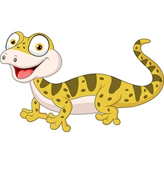 Cute lizard posing isolated on white background vector