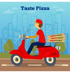 Pizza courier on scooter pizza delivery vector