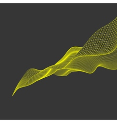 Wavy grid background 3d technology style vector