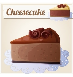 Chocolate cheesecake detailed icon vector
