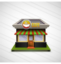 Building cafe open storefronts and bright awning vector