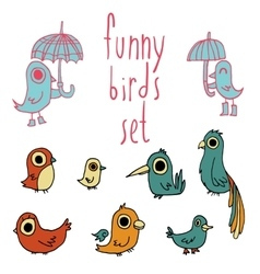 Cartoon flat birds set icon stickers vector