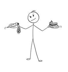 Cartoon of man deciding with healthy and vector