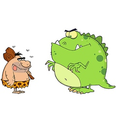 Caveman And Angry Dinosaur Cartoon Characters vector image