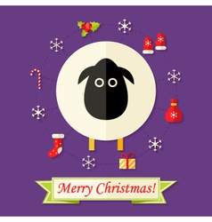Christmas card with sheep over purple vector
