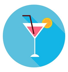 Cocktail Alcohol Drink Circle Icon vector image vector image