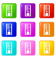 Coffee vending machine icons 9 set vector