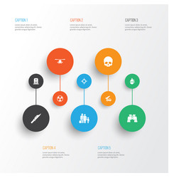 combat icons set collection of glass ordnance vector image vector image