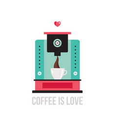 Cute colorful coffee maker vector