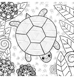 Cute turtle in garden adult coloring book page vector