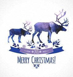 Deers christmas watercolor card vector